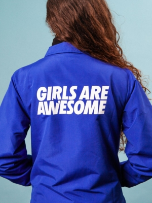 Girls are Awesome Coach jacket blue backprint