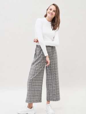 Dr.Denim Abel Culottes black and white checkered