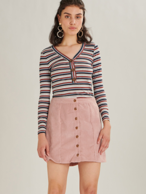 24 Colours corduroy skirt pink