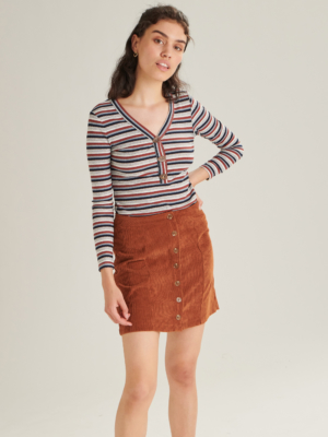 24 Colours corduroy skirt Brown