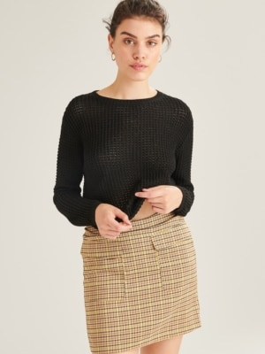 24 Colours Jeans Skirt Checkered