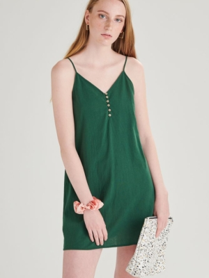 24 Colours dress with buttons green