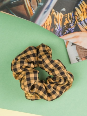 24 Colours Scrunchie Yellow Black Checkered
