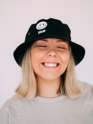 Girls are Awesome Bucket Hat AK Smiley Black