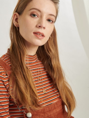 24 Colours long sleeve shirt rust red striped