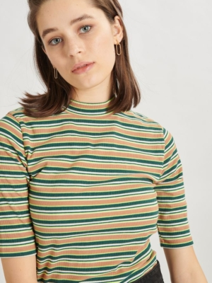 24 Colours Shirt striped petrol green