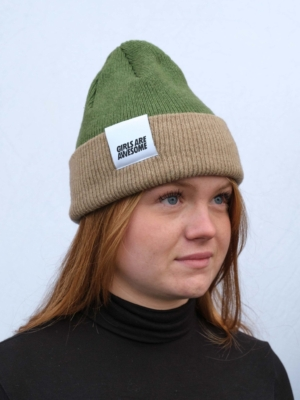 Girls are Awesome Single Drip Lamb Wool Beanie Green