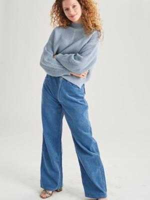 24 Colours Corduroy pants blue