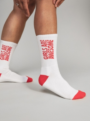 Girls are Awesome Socks Kinda Sporty white