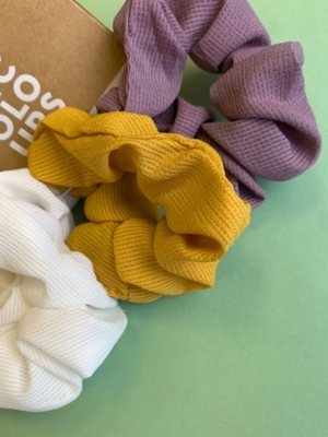 24 Colors Scrunchie 3-pack purple yellow white