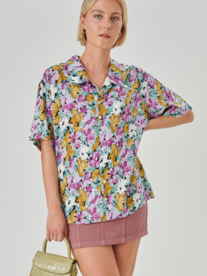 24 colors blouse flowered lilac