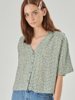 24 colors blouse flowered mint