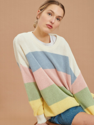 24 colors knitted sweater with pastel stripes