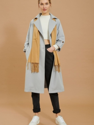 24 colors trench coat light blue