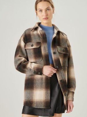 24 Colors shirt brown checkered